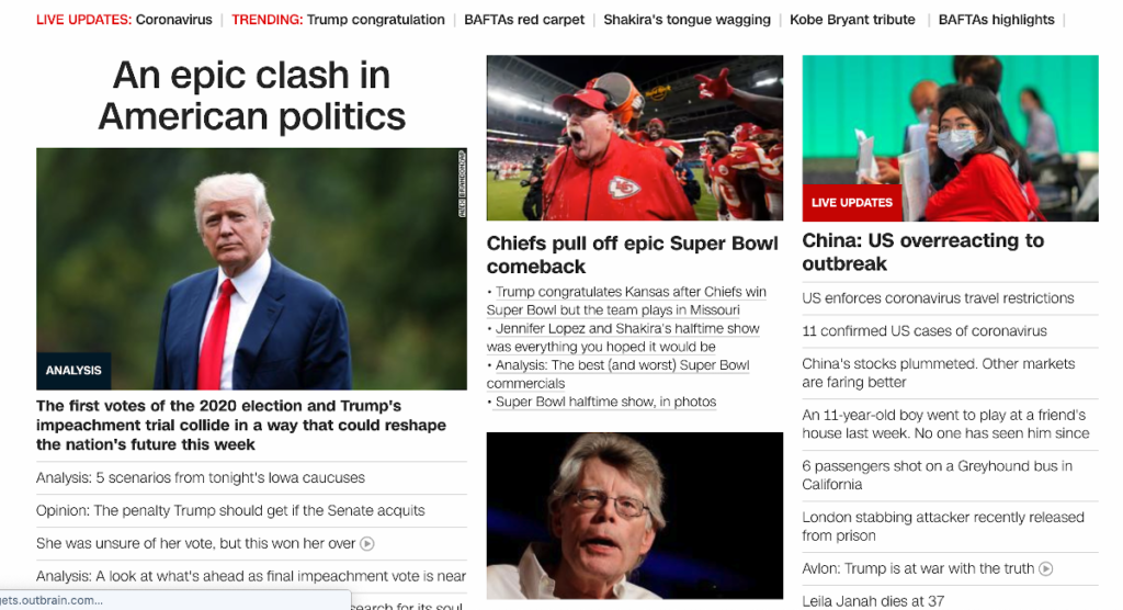 CNN front page